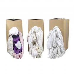 Poetslappen met gekleurd randje WTR 90 wit tricot verpakt per 10 kilo in doos